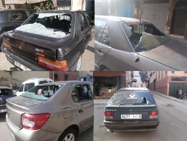 تخريب 50 سيارة بحي مولاي رشيد بالدار البيضاء و الساكنة تطالب بتوفير الأمن